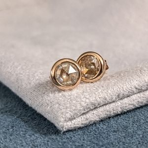 5mm rose cut moissanite 14k rose gold studs